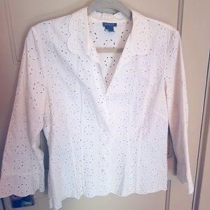 White circle eyelet blouse by Ann Taylor